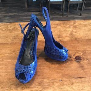 WHBM Snake print slingback Blue Suede heels 9.5